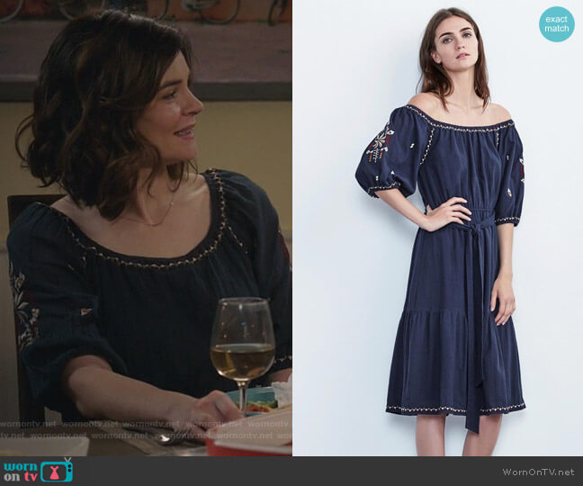 Monae Embroidered Cotton Dress by Velvet by Graham & Spencer worn by Heather Hughes (Betsy Brandt) on Life in Pieces