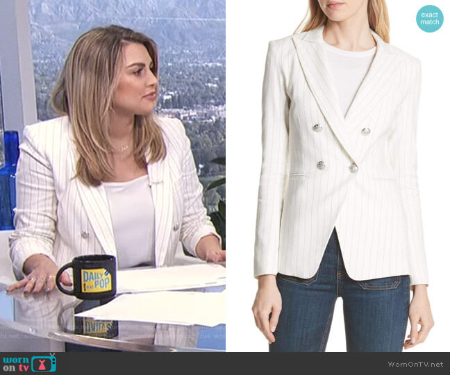 'Apollo' Pinstripe Jacket by Veronica Beard worn by Carissa Loethen Culiner  on E! News