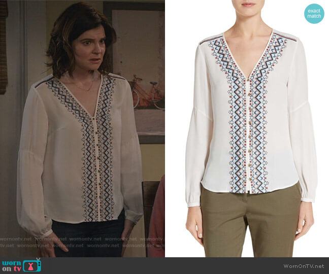Dream Embroidered Silk Blouse by Veronica Beard worn by Betsy Brandt on Life in Pieces