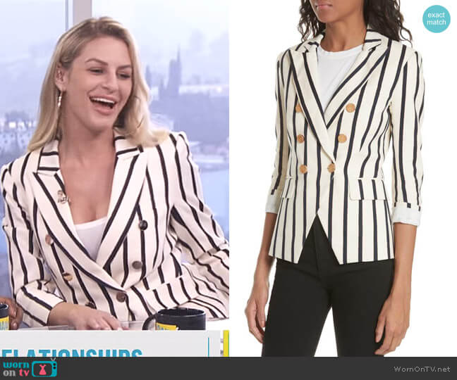 Empire Stripe Dickey Jacket by Veronica Beard worn by Morgan Stewart  on E! News
