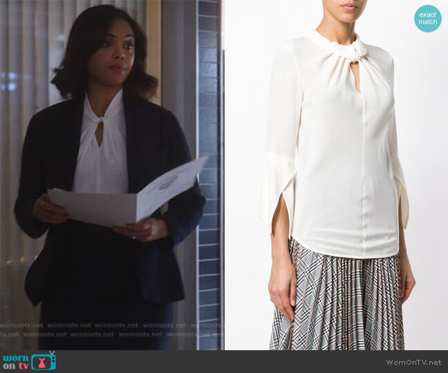 Twist Detail Blouse by Victoria Beckham worn by Sharon Leal on Instinct