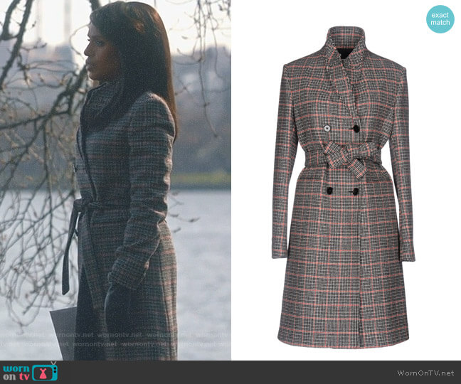 Checked Wool Coat by Victoria Beckham worn by Olivia Pope (Kerry Washington) on Scandal