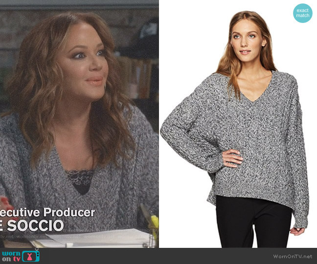 Cable V-Neck Sweater by Vince worn by Vanessa Cellucci (Leah Remini) on Kevin Can Wait
