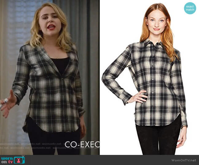 Tartan Plaid Oversized Button Down Shirt by Vince worn by Mae Whitman on Good Girls