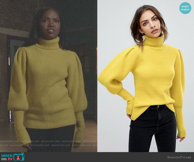 Balloon Sleeve Sweater by Warehouse worn by Ryan Destiny on Star