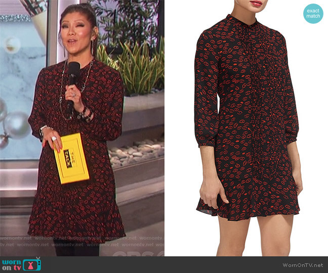 Lilly Lip-Print Dress by Whistles worn by Julie Chen  on The Talk