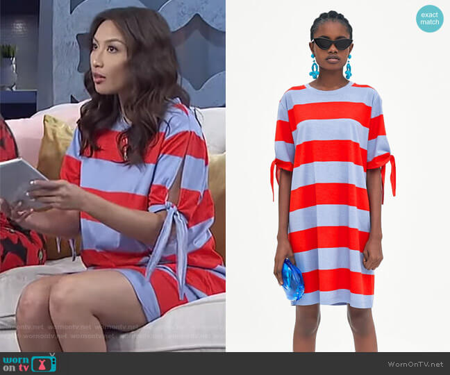 Striped Dress with Knots by Zara worn by Jeannie Mai on The Real