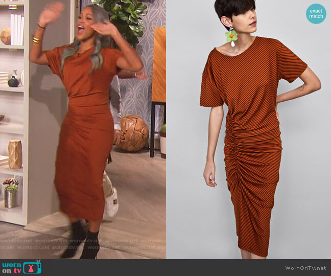 Striped Dress by Zara worn by Eve (Eve) on The Talk