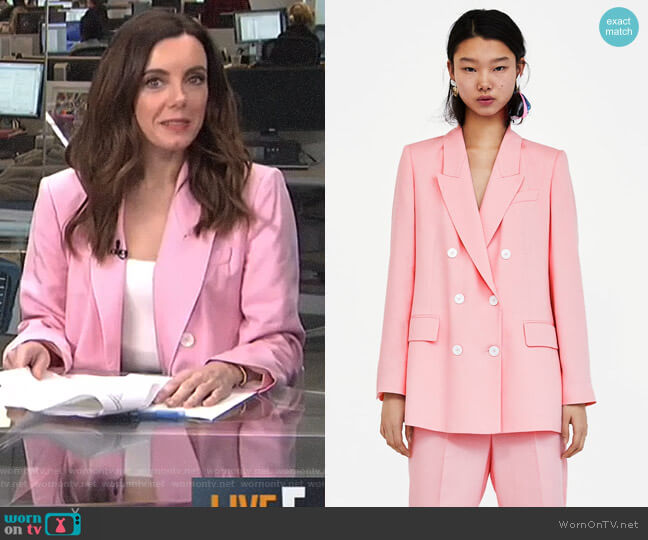 Double-Breasted Blazer by Zara worn by Melanie Bromley on E! News