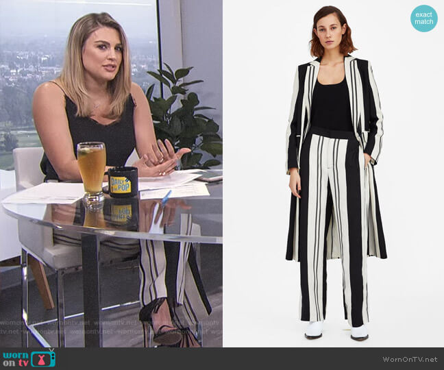 Striped Trousers by Zara worn by Carissa Loethen Culiner on E! News