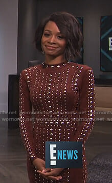 Zuri's brown studded mini dress on E! News