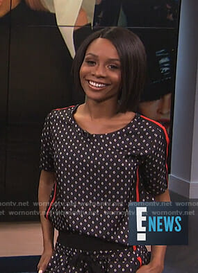 Zuri's black floral print top and track pants on E! News