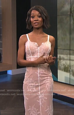 Zuri's ivory lace dress on E! News
