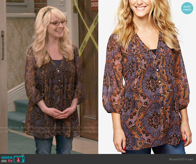 A Pea in the Pod Maternity Printed Blouse worn by Melissa Rauch on The Big Bang Theory