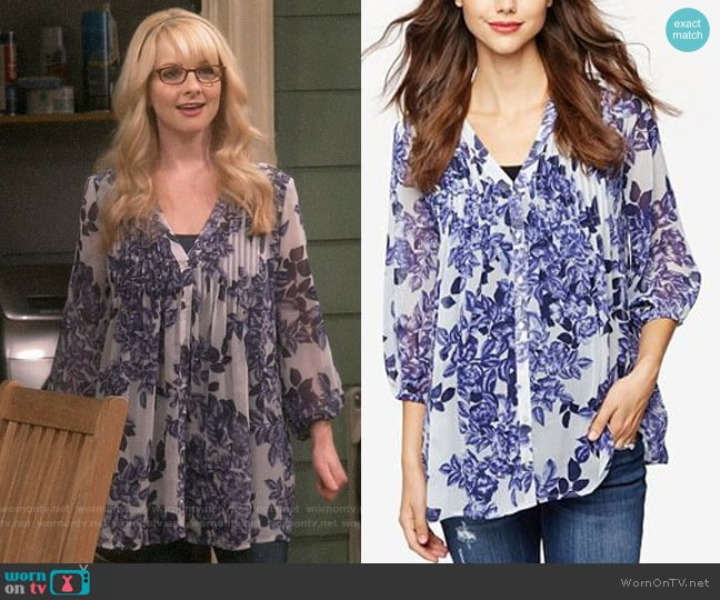 A Pea in the Pod Printed Blouse worn by Bernadette Rostenkowski (Melissa Rauch) on The Big Bang Theory