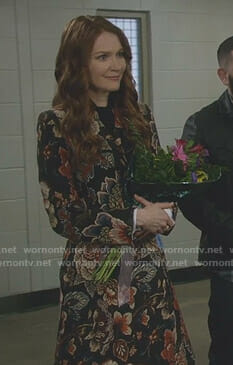 Abby's black floral jacquard coat on Scandal