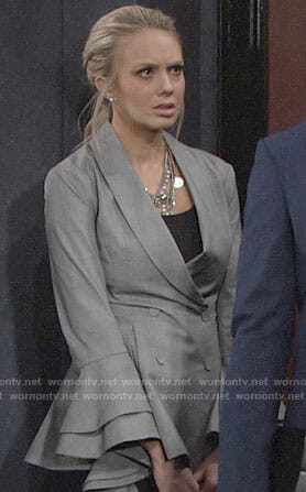 Abby's grey blazer with ruffled bell sleeves on The Young and the Restless