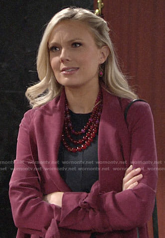 Abby's pink draped coat on The Young and the Restless