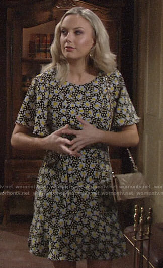 Abby's daisy print dress on The Young and the Restless