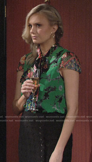 Abby's green floral bow neck blouse on The Young and the Restless