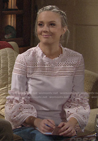 Abby's pink eyelet top on The Young and the Restless