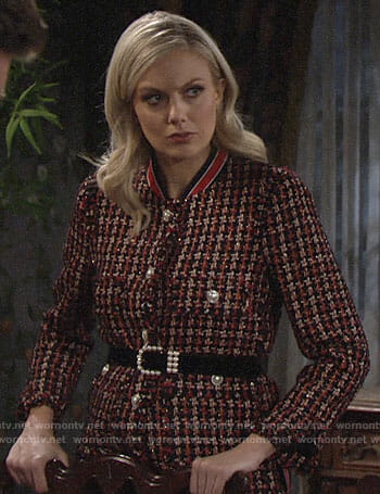Abby's tweed jacket with striped collar on The Young and the Restless