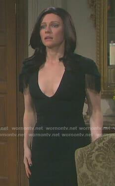 Abigail's black v-neck dress with fringe sleeves on Days of our Lives