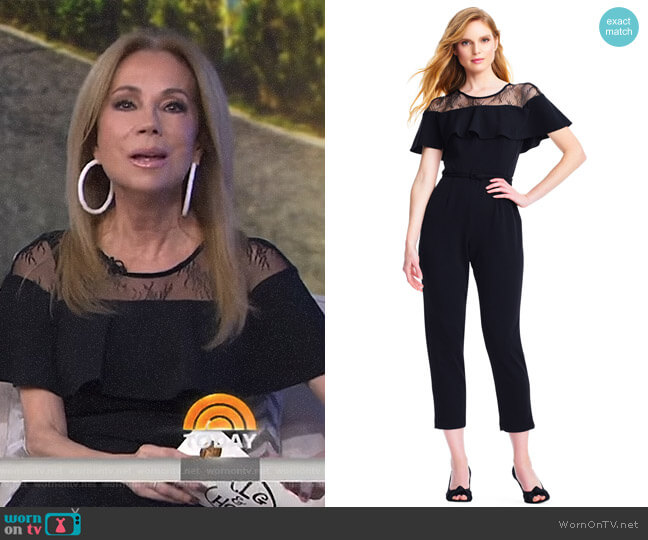 Short Sleeve Jumpsuit with Flounce Illusion Neckline by Adrianna Papell worn by Kathie Lee Gifford (Kathie Lee Gifford) on Today