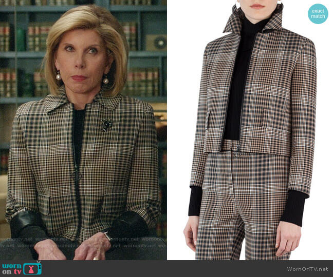 Akris Punto Claire Glen Plaid Jacket worn by Christine Baranski on The Good Fight