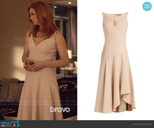 Alexander McQueen Sweetheart-neck wool and silk-blend cady dress worn by Donna Paulsen (Sarah Rafferty) on Suits
