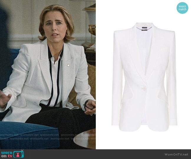 Alexander McQueen Crepe Blazer worn by Téa Leoni on Madam Secretary