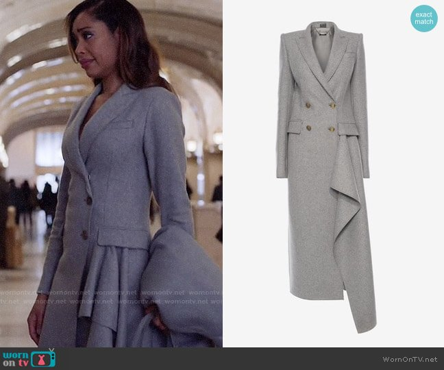 Alexander McQueen Double Breasted Drape Coat worn by Gina Torres on Suits