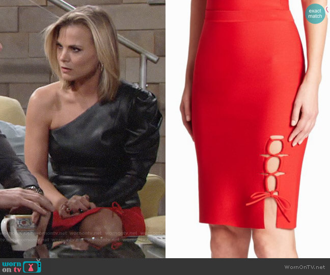 Alexander Wang Lace-Up Slit Pencil Skirt worn by Gina Tognoni on The Young & the Restless