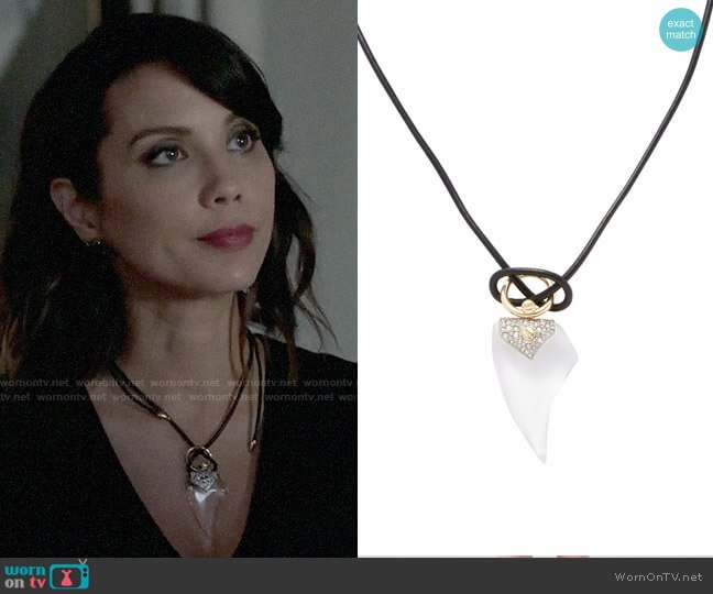 Alexis Bittar Lucite Encrusted Thorn Pendant Necklace worn by Lexa Doig on The Arrangement