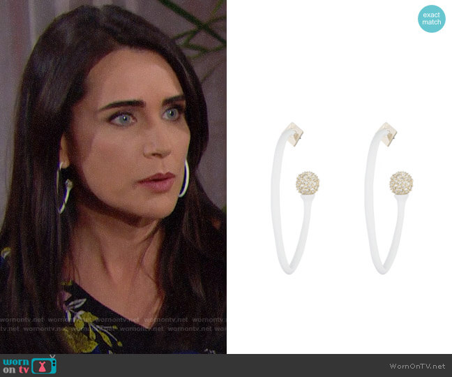 Alexis Bittar Matte White with Crystal Accent Organic Hoop Earring worn by Rena Sofer on The Bold & the Beautiful