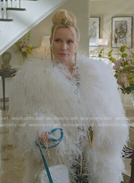 Alexis's white shaggy coat on Dynasty