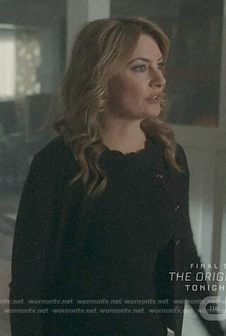 Alice's black scalloped trim dress and bow button cardigan on Riverdale