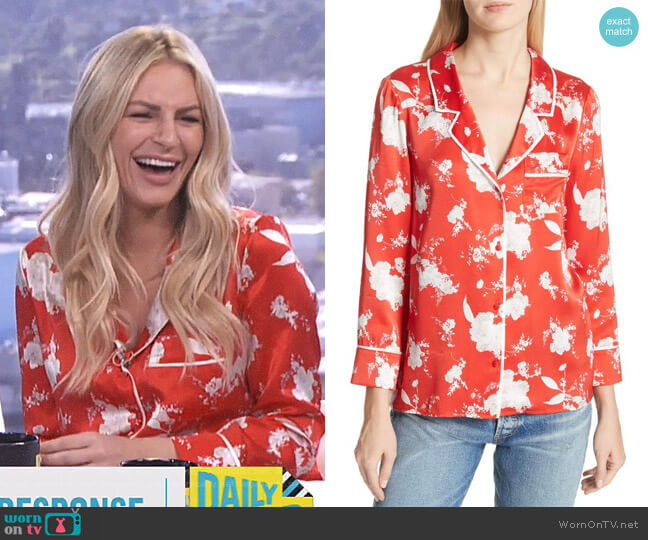 'Keir' Floral Silk Pajama Shirt by Alice + Olivia worn by Morgan Stewart  on E! News
