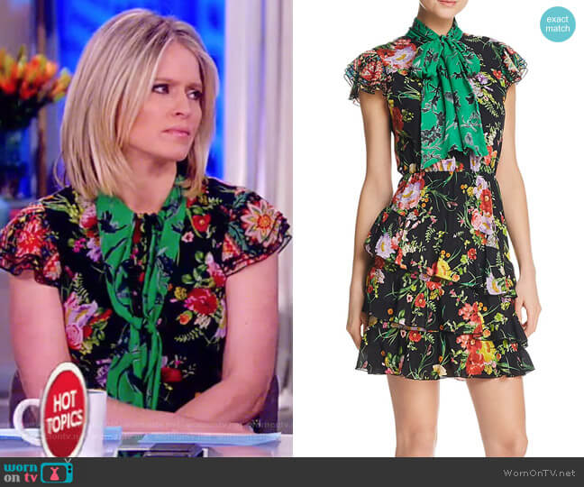 Lessie Tiered Floral Tie-Neck Dress by Alice + Olivia worn by Sara Haines  on The View