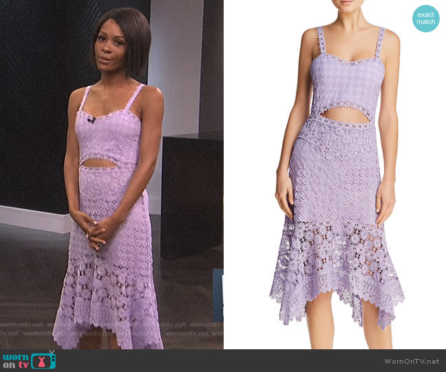 'Tamika' Cutout Lace Midi Dress by Alice + Olivia worn by Zuri Hall  on E! News