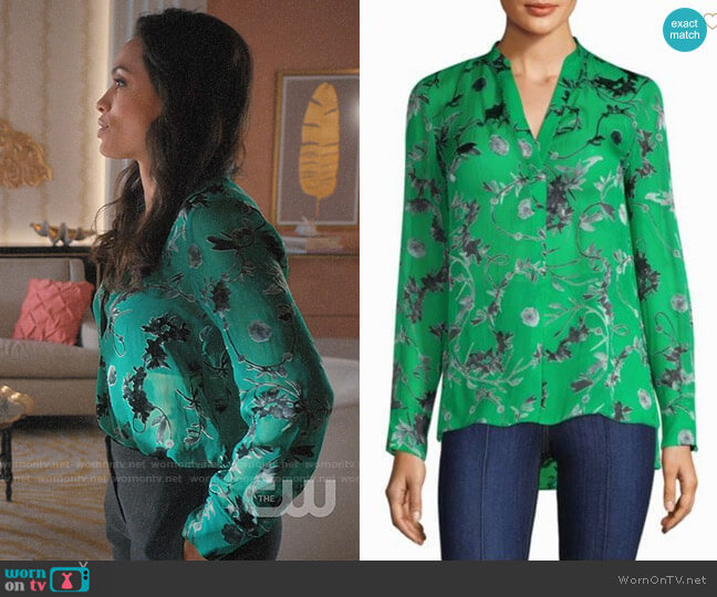 Alice + Olivia Amos Silk Tunic worn by Rosario Dawson on Jane the Virgin
