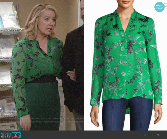 Alice + Olivia Amos Silk Tunic worn by Melody Thomas-Scott on The Young & the Restless