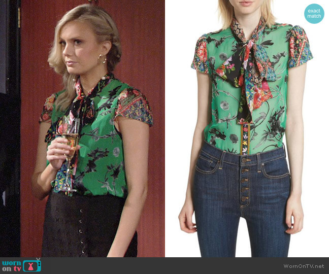 Alice + Olivia Jeannie Blouse worn by Melissa Ordway on The Young & the Restless