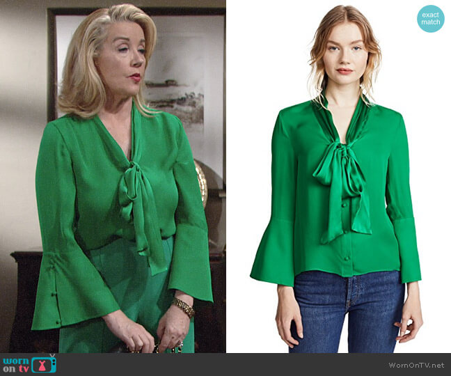 Alice + Olivia Meridith Blouse worn by Melody Thomas-Scott on The Young & the Restless