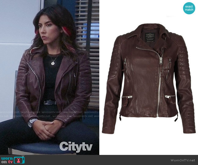 All Saints Oxblood Biker Jacket