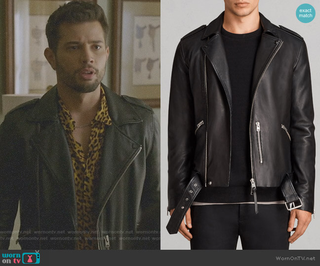 'Kaho' Leather Biker Jacket by All Saints worn by Sam Flores (Rafael de la Fuente) on Dynasty
