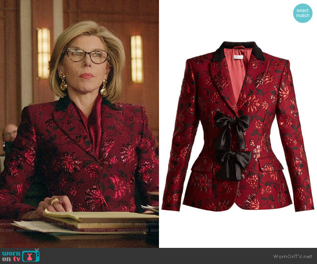 Altuzarra Angela Blazer worn by Diane Lockhart (Christine Baranski) on The Good Fight