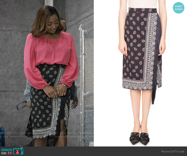 Altuzarra Jude Floral Bandana Wrap Skirt worn by Daisy Grant (Patina Miller) on Madam Secretary