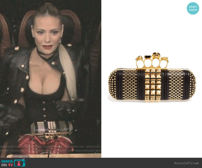 Knuckle Clasp Graphic Studded Box Clutch by Alexander McQueen worn by Dorit Kemsley on The Real Housewives of Beverly Hills