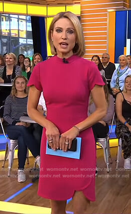 Amy's pink scalloped hem dress on Good Morning America